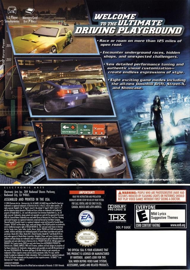 Need For Speed Underground 2 UUSA ROM ISO Download For GameCube Rom Hustler