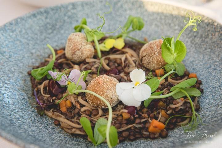 Puy Lentil Ragu with Beetroot Polenta and Sour Blackberries