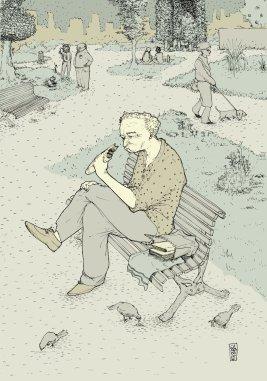 Almuerzo al aire libre - tinta china y coloreado digital - 21 x 29 cm