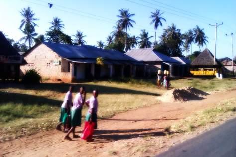 Niñas volviendo del colegio, ruta de Mombasa a Malindi, Kenia, África, 2012