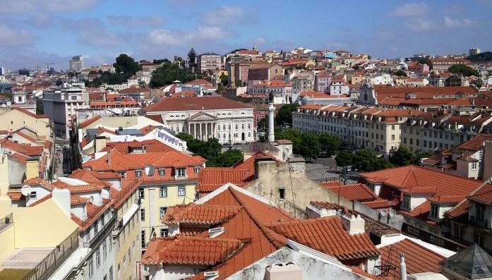 Vistas desde el Mirador de Santa Justa, Lisboa, Portugal, 2015