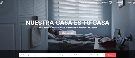 Web de Airbnb, plataforma donde encontrar Apartamentos baratos