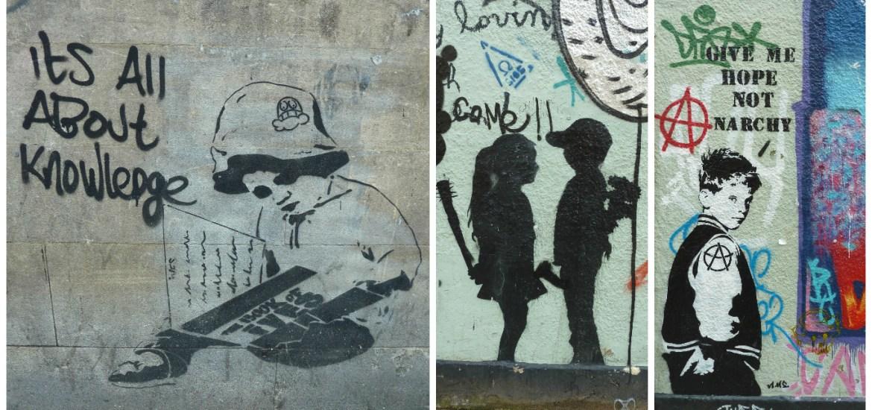 Collage de Fotos 2 de Graffitis en las calles de Bristol, Inglaterra, junio 2012