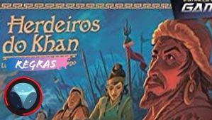 Zoom da imagem da capa de Herdeiros do Khan, junto com o logo da Romir Play House e o indicativo de se tratar de vídeo de regras.