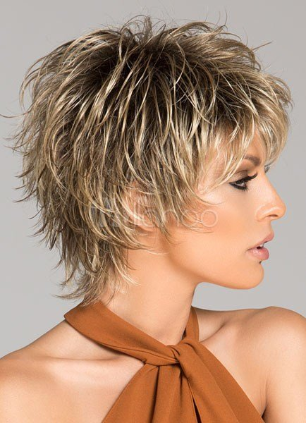 The Best Women Short Wigs 2018 Flaxen Wave Curly Tousled Synthetic Pictures