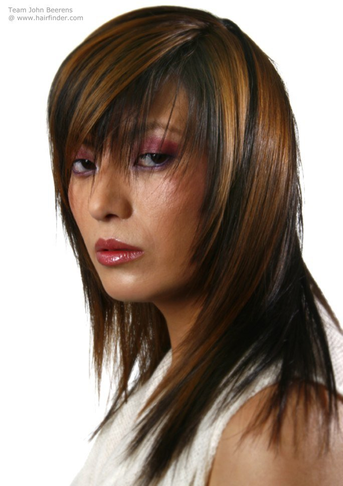 The Best Long Hairstyle With Streaks And Long Bangs With A Peek A Boo Effect Pictures