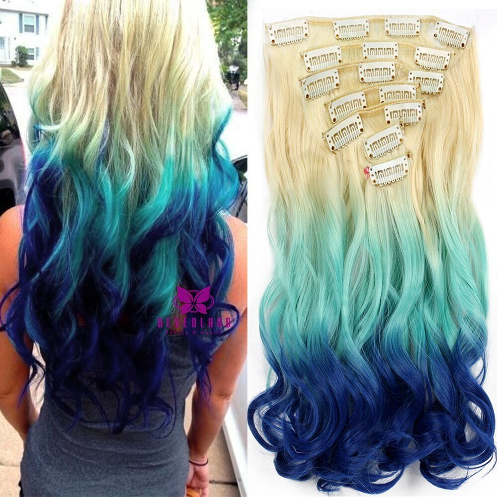 The Best 2017 7Pcs Set 20 Inch Synthetic Hair Wavy Ombre Extension Pictures