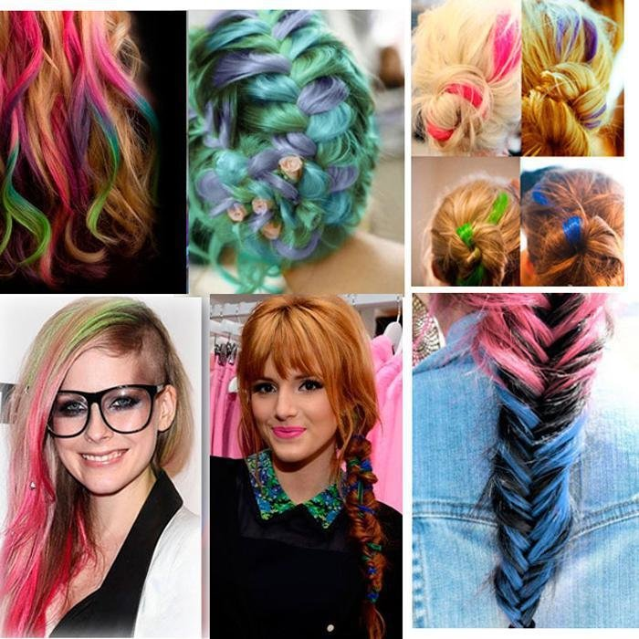 The Best Multi Colored Clip In Hair Weaving Extension Synthetic Ombre Straight Highlighted Dip Dye Hair Pictures
