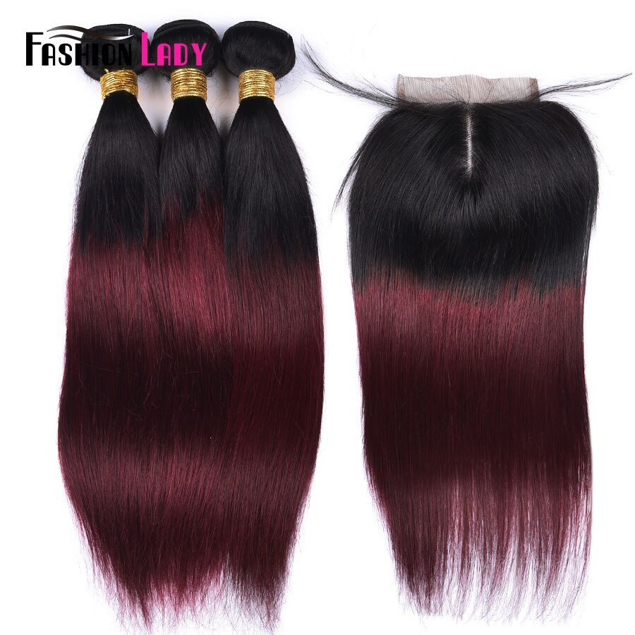 The Best Fashion Lady Pre Colored Ombre Brazilian Hair 3 Bundles Pictures