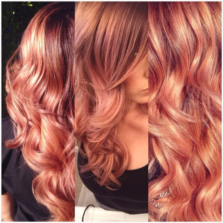The Best Rose Gold Ombré Melt Theglam Room Curly Hair Styles Pictures