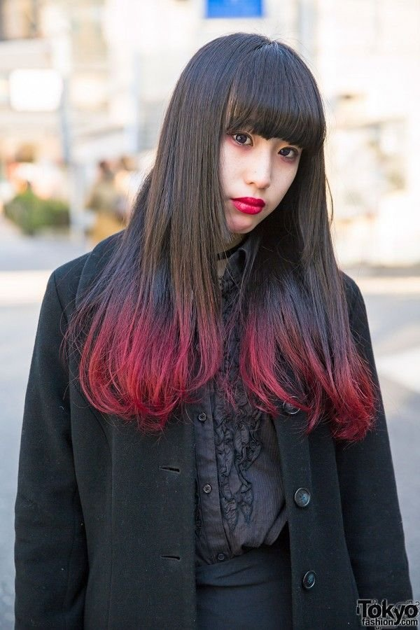 The Best Red Dip Dye Hair Gothic Fashion Brunettes Red Ombre Pictures