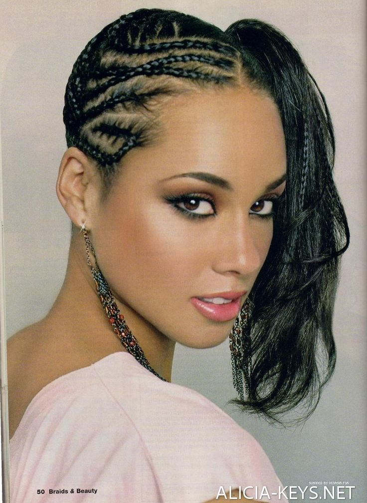 The Best Alicia Keys Hairstyles Canerow Side Ponytail Hair Pictures