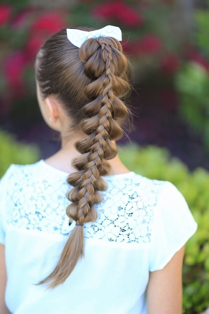 The Best Stacked Pull Through Braid Cute Girls Hairstyles Pictures