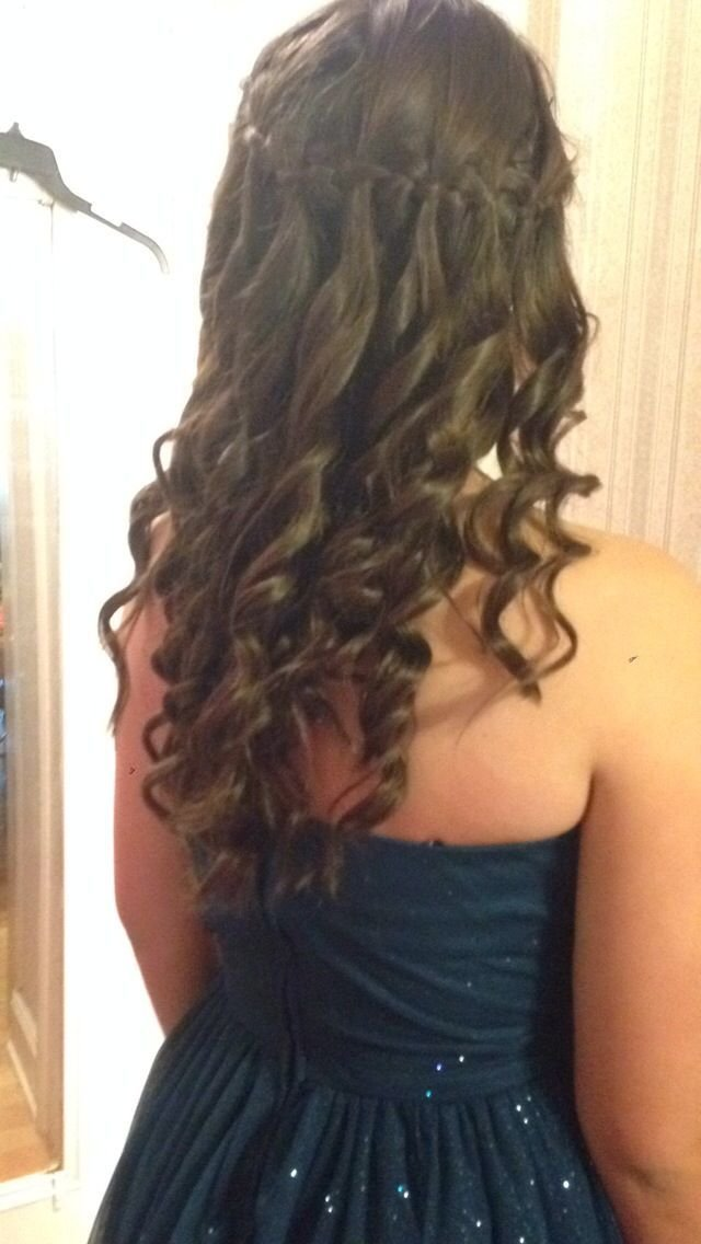 The Best Waterfall Braid Around The Head With Curls I Did This For Pictures