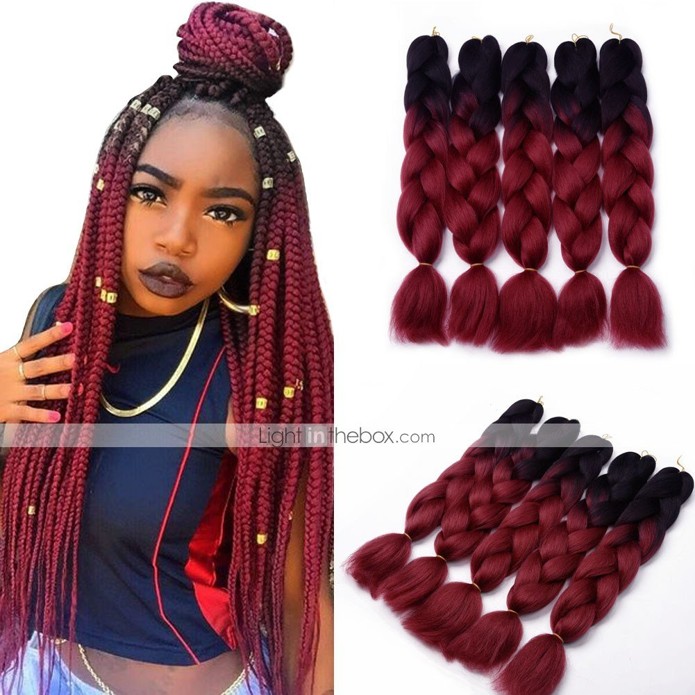The Best Box Braids Ombre Braiding Hair Synthetic Hair 5Pcs Jumbo Pictures