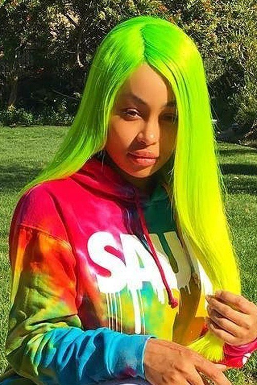 The Best Blac Chyna Straight Green Ombré Side Part Uneven Color Pictures