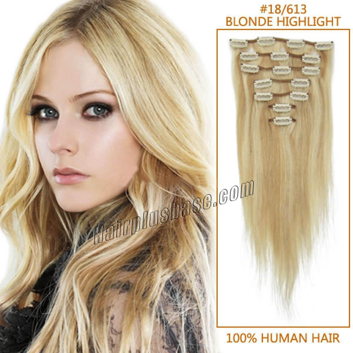 The Best 22 Inch 18 613 Blonde Highlight Clip In Remy Human Hair Pictures