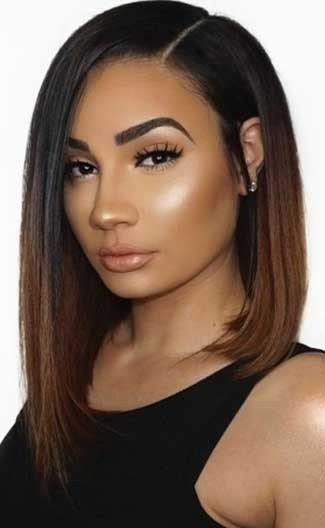 The Best Ombre Asymmetrical Lob Deep Side Part Bob Improved 360°Anatomic Lace Wigs 100 Indian Remy Hair Pictures