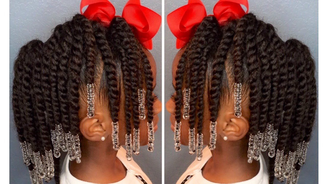 The Best Two Strand Twist Pony Hawk W Beads Kids Natural Hair Iamawog Youtube Pictures