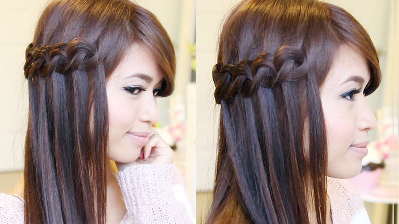 The Best Knotted Loop Waterfall Braid Hairstyle Hair Tutorial Pictures