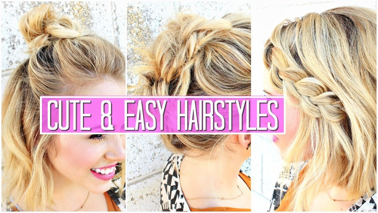 The Best 3 Easy Hairstyles For Short Medium Hair Tutorial Cute Girls Hairstyles Buns Youtube Pictures