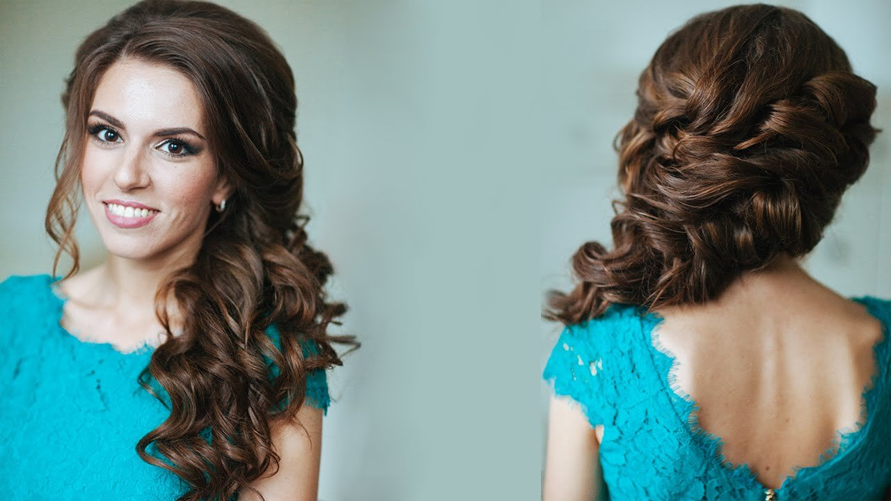 The Best Side Swept Curls Wedding Prom Hairstyles Tutorial Youtube Pictures
