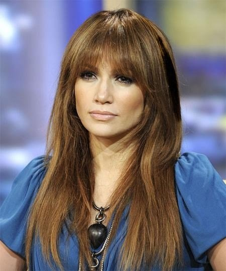 The Best 15 Best Of Long Hairstyles With Full Fringe Pictures
