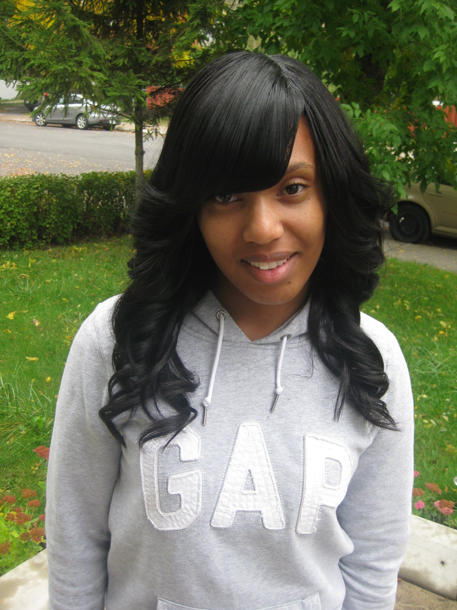 The Best Simplicity Full Loose Curls Weave With Side Bangs Love Pictures
