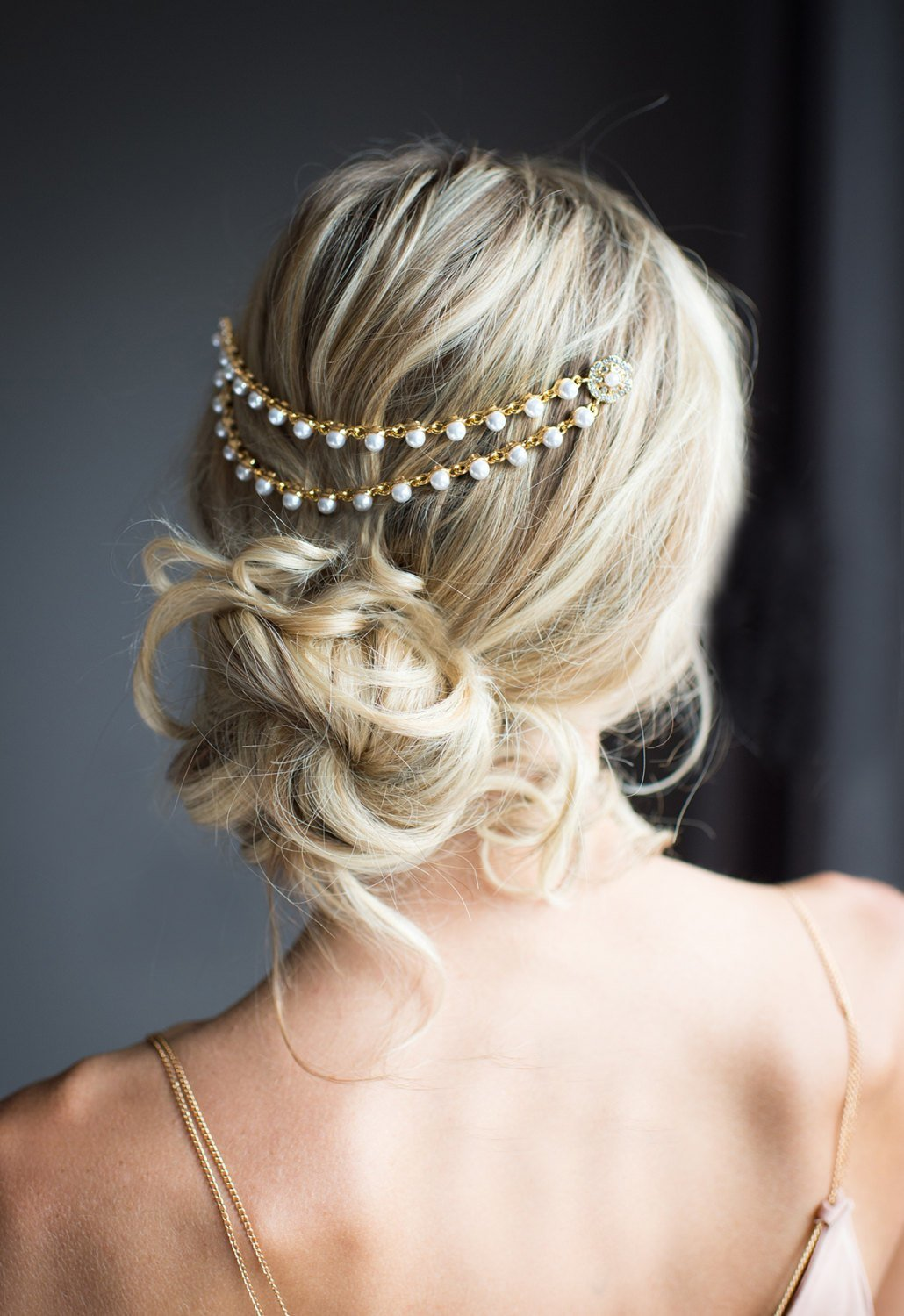 The Best Gold Pearl Bridal Hair Chain Wedding Hair Wrap By Pictures