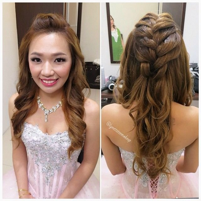 The Best Wedding Dinner Makeup Hairdo Princess Braided Wavy Pictures