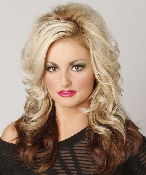 The Best Two Tone Hairstyle Medium Length Formal Long Wavy Hairstyle Light Blonde Layered 14588 Pictures