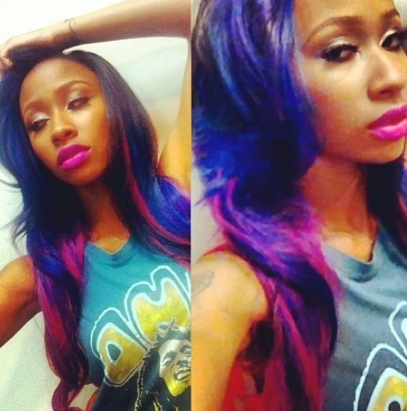 The Best Diamond Rapper Purple Hair Photos Diamond Shows Off Cute New Blue And Pink Hair Color Pictures