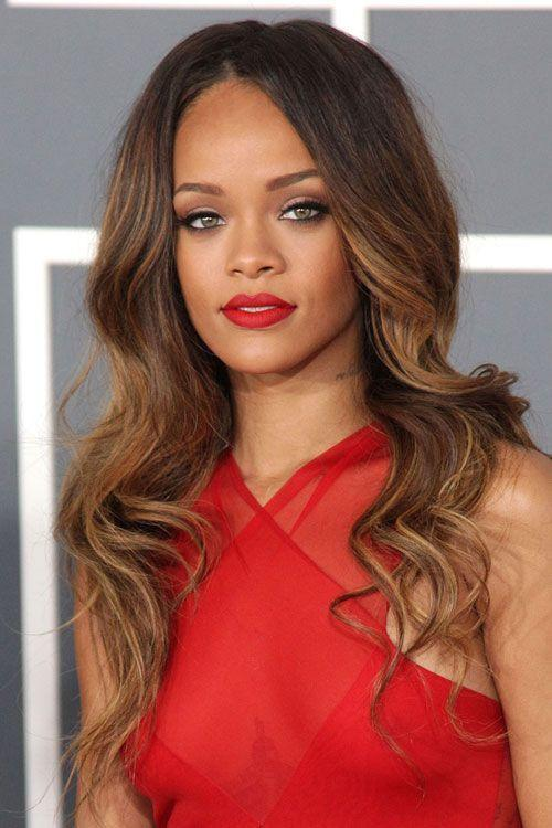 The Best Rihanna Wavy Light Brown All Over Highlights Ombré Pictures