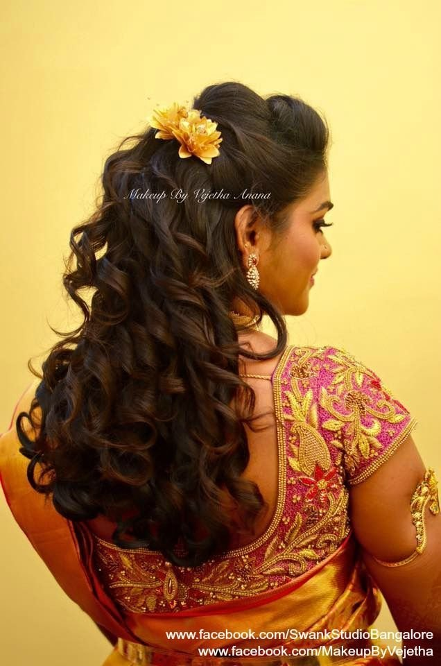 The Best Indian Bride S Reception Hairstyle By Vejetha For Swank Studio Curls Saree Blouse Design Hair Pictures