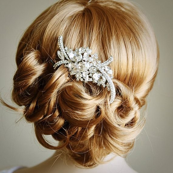 The Best Bridal Hair Comb Art Deco Crystal Rhinestone Wedding Hair Pictures