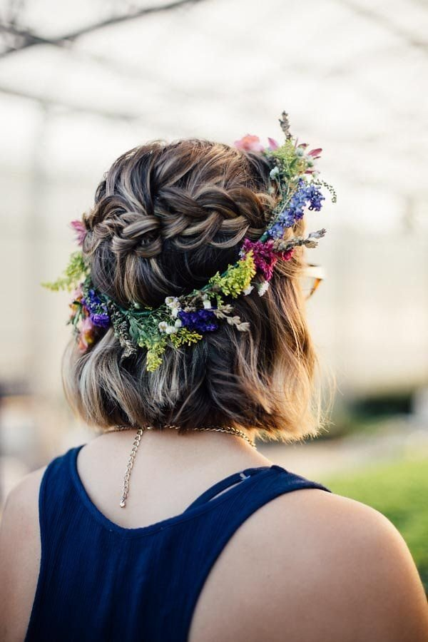 The Best Boho Flower Crown Fall Wedding Short Hair With Bohemian Pictures