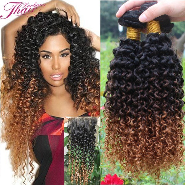 The Best Brazilian Ombre K*Nky Curly V*Rg*N Hair 4 Pcs Ombre Curly Pictures