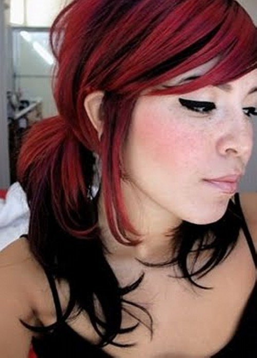 The Best 25 Groovy Black Hair With Red Highlights Pictures