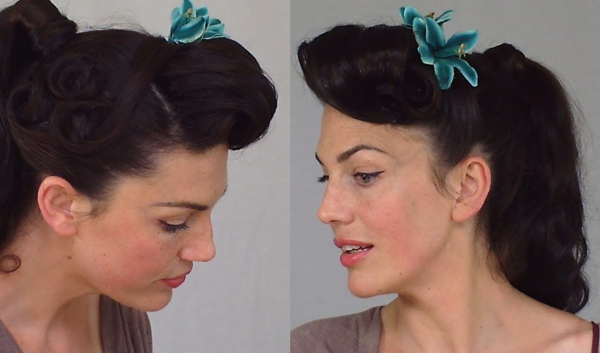 The Best Pin Up Ponytail Easy Practical Vintage Hairstyle Youtube Pictures