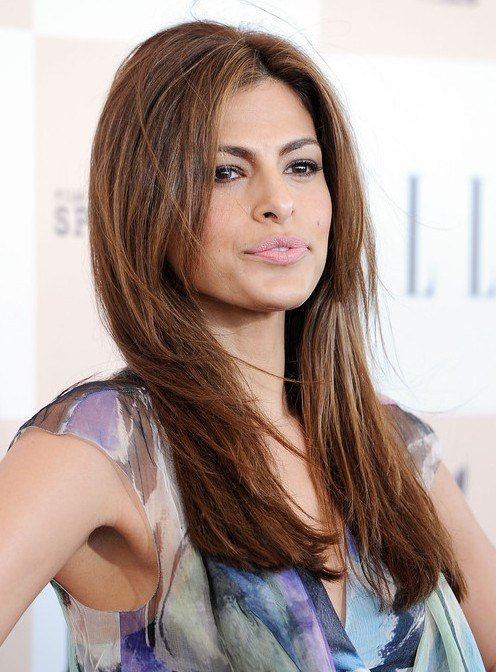 The Best Eva Mendes Easy Long Layered Hairstyle For Straight Hair Popular Haircuts Pictures