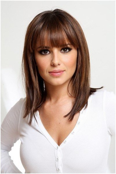 The Best Straight Medium Hairstyles With Blunt Bangs Easy Pictures