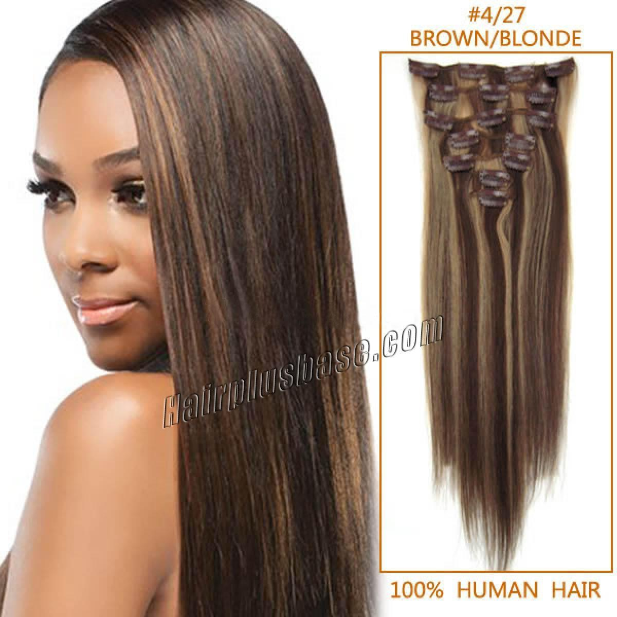 The Best 30 Inch 4 27 Brown Blonde Clip In Remy Human Hair Pictures