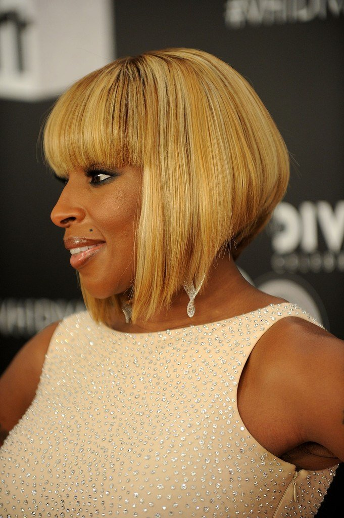 The Best Mary J Blige Inverted Bob Short Hairstyles Lookbook Pictures