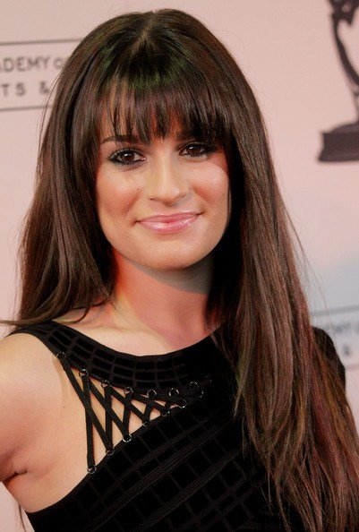 The Best Lea Michele Long Straight Cut With Bangs Lea Michele Pictures