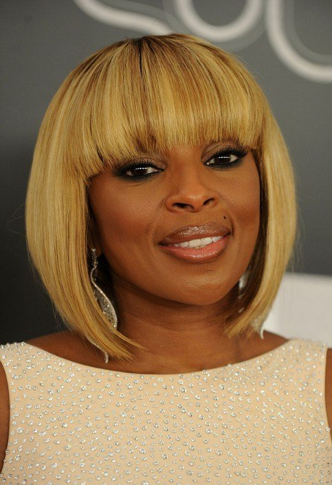 The Best Mary J Blige Trendy Short Inverted Bob Cut Hairstyles Pictures
