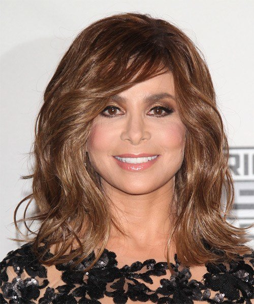 The Best Paula Abdul Medium Wavy Casual Hairstyle With Side Swept Bangs Chestnut Brunette Hair Color Pictures