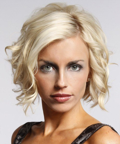 The Best Short Wavy Formal Layered Bob Hairstyle Platinum Hair Pictures