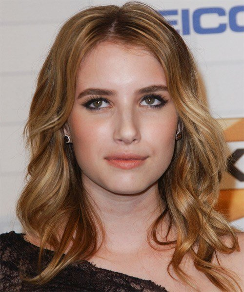 The Best Emma Roberts Medium Wavy Casual Hairstyle Dark Blonde Copper Pictures