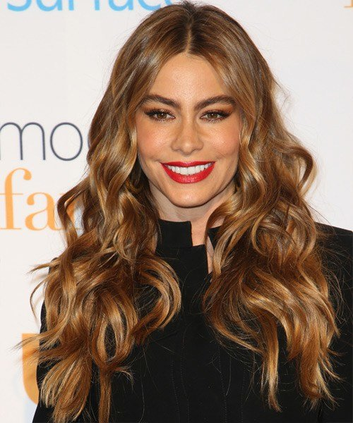 The Best Sofia Vergara Long Wavy Casual Hairstyle Auburn Brunette Pictures
