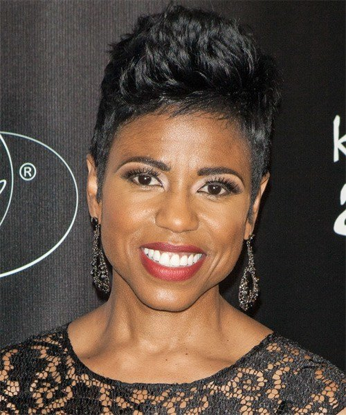 The Best Jacque Reid Short Straight Casual Hairstyle Black Hair Color Pictures